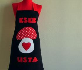 chef cap oven glove and double sided apron great gift new. mushroom